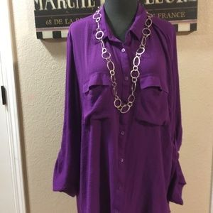 Purple a.n.a. button up tunic